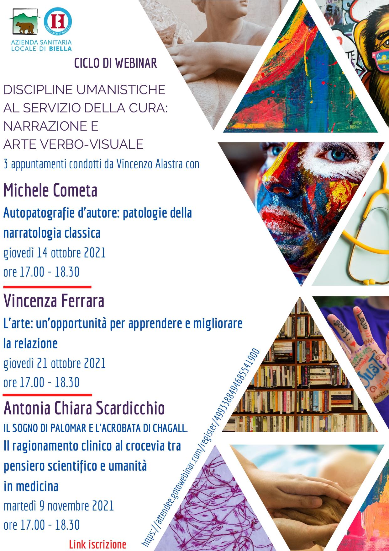 La locandina del ciclo di webinar dedicati alle discipline umanistiche al servizio della cura, con Michele Cometa, Vincenza Ferrara e Antonia Chiara Scardicchio